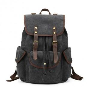 041PL VINTAGE SCOUT™. Płócienny plecak miejski. Kolor: CZARNY