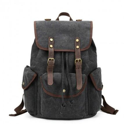OUTL. VINTAGE SCOUT™. Płócienny plecak miejski. Kolor: CZARNY