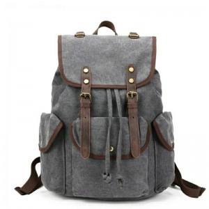 041PL VINTAGE SCOUT™. Płócienny plecak miejski. Kolor: SZARY