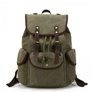 041PL VINTAGE SCOUT™. Płócienny plecak miejski. Kolor: ZIELEN WOJSKOWA