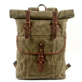 05PL ROOLL VINTAGE® WAX Rolowany płócienny plecak bawełniany damski / męski. ZIELEŃ WOJSKOWA
