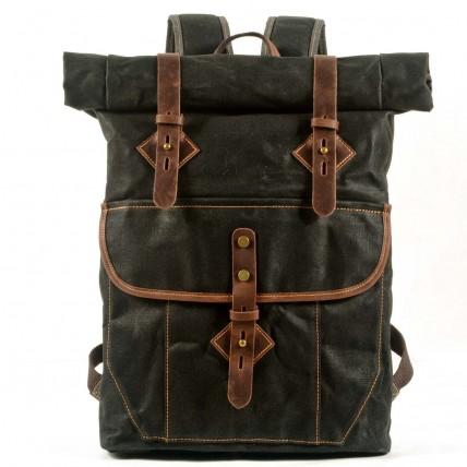 05PL ROOLL VINTAGE® WAX Rolowany płócienny plecak bawełniany damski / męski. Dodatki skórzane. CZARNY