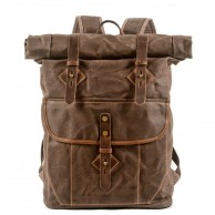 05PL ROOLL VINTAGE® WAX Rolowany płócieny plecak bawełniany damski / męski. Dodatki skórzane. KAWOWY