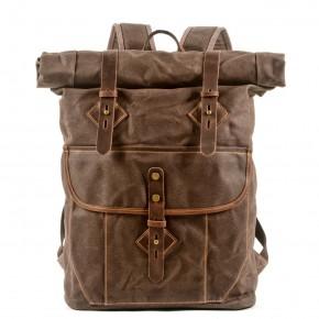 05PL ROOLL VINTAGE® WAX Rolowany płócienny plecak bawełniany damski / męski. Dodatki skórzane. KAWOWY