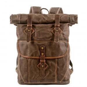05PL ROOLL VINTAGE® Rolowany płócieny plecak bawełniany damski / męski. Dodatki skórzane. KAWOWY