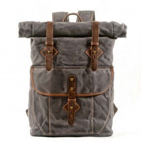 05PL ROOLL VINTAGE® WAX Rolowanny płócienny plecak bawawełniany SZARY