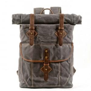 05PL ROOLL VINTAGE® Rolowany płócieny plecak bawełniany damski / męski. Dodatki skórzane. SZARY