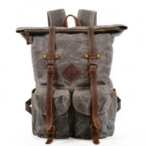 06PL WAX ROOLL VINTAGE 2 Rolowany płócienny plecak bawełniany damski / męski. SZARY