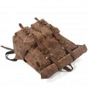 06PL WAX ROOLL VINTAGE 2 Rolowany płócienny plecak bawełniany damski / męski. KAWOWY