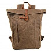 07PL WAX ESSEX VINTAGE woskowany płócienny plecak bawełniany unisex. KAWOWY