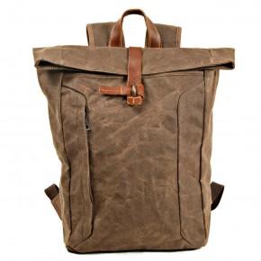 07PL WAX ESSEX VINTAGE woskowany płócieny plecak bawełniany unisex. KAWOWY