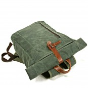 07PL WAX ESSEX VINTAGE woskowany płócienny plecak bawełniany unisex. ZIELONY
