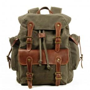 091PL WAX SCOUT. Płócienny plecak miejski unisex. ZIELEŃ WOJSKOWA