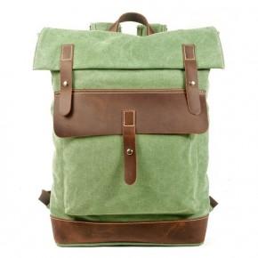 021PL MATILDE® płócieny plecak bawełniany damski / męski. Dodatki skórzane. Kolor zieleń malachit
