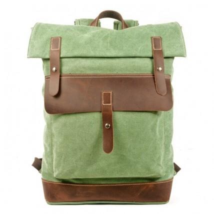 021PL MATILDE® płócienny plecak bawełniany damski / męski. Dodatki skórzane. Kolor zieleń malachit