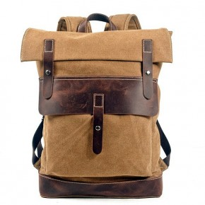 021PL MATILDE® płócieny plecak bawełniany damski / męski. Dodatki skórzane. Kolor khaki