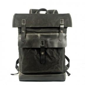 021PL MATILDE® płócieny plecak bawełniany damski / męski. Dodatki skórzane. Kolor czarny