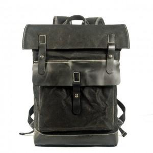 021PL MATILDE® płócienny plecak bawełniany damski / męski. Dodatki skórzane. Kolor czarny