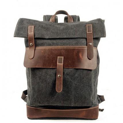 021PL MATILDE® płócieny plecak bawełniany damski / męski. Dodatki skórzane. Kolor szary