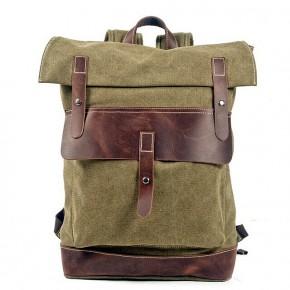 021PL MATILDE® płócienny plecak bawełniany damski / męski. Dodatki skórzane. Kolor Zieleń wojskowa