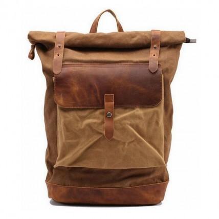 02PL MATILDE® płócieny plecak bawełniany damski / męski. Dodatki skórzane. Kolor kawowy