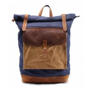 02PL MATILDE® płócienny plecak bawełniany damski / męski. Dodatki skórzane. Kolor niebieski