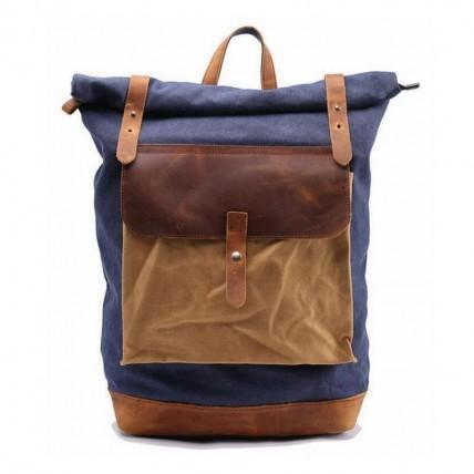 02PL MATILDE® płócieny plecak bawełniany damski / męski. Dodatki skórzane. Kolor niebieski