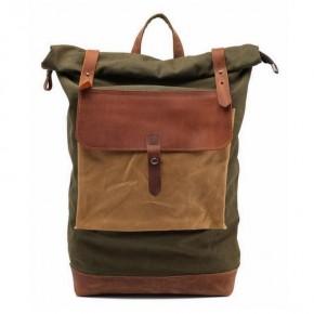 02PL MATILDE® płócieny plecak bawełniany damski / męski. Dodatki skórzane. Kolor zielony