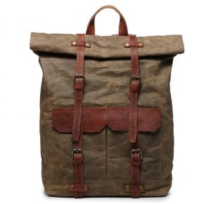 03PL WAXVINTAGE® woskowany płócieny plecak bawełniany damski / męski. Dodatki skórzane. Kolor  brązowy