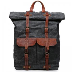 03PL WAXVINTAGE® woskowany płócieny plecak bawełniany damski / męski. Dodatki skórzane. Kolor czarny