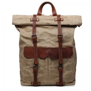 03PL WAXVINTAGE® woskowany płócieny plecak bawełniany damski / męski. Dodatki skórzane. Kolor pustynne khaki