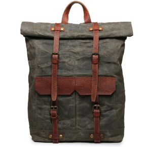 03PL WAXVINTAGE® woskowany płócieny plecak bawełniany damski / męski. Dodatki skórzane. Kolor  zielony