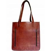 """TS6. Prosta klasyczna skórzana shopperka damska z kieszeniami, torba na ramię z naturanej skóry. Kolor: brązowy. Rozmiar: 14"""""""
