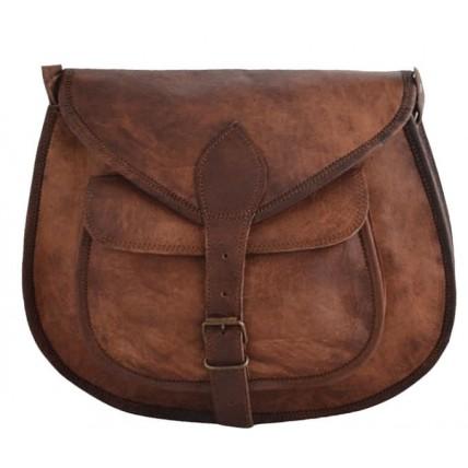 """9. Skórzana torebka damska na ramie, wykonana ręcznie z naturanej skóry. Kolor: brązowy. Rozmiar: 9""""-13"""""""
