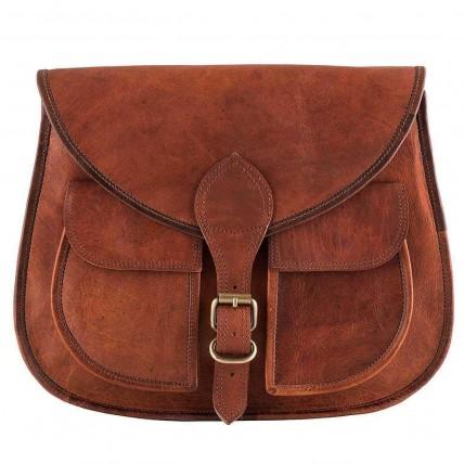 """10a. Damska torebka skórzana  na ramię z naturanej skóry. Kolor: brązowy. Rozmiar: 13"""""""