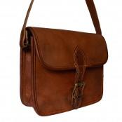 10. Skórzana damska aktówka torebka na ramie, wykonana ręcznie z naturanej skóry. Kolor: brązowy.