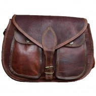 """3. Skórzana torebka damska na ramie, wykonana ręcznie z naturanej skóry. Kolor: brązowy. Rozmiar: 13"""""""