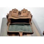 "12. Skórzana damska aktówka listonoszka, wykonana ręcznie z naturanej skóry. Kolor: brązowy. Rozmiar: 11"""