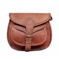 """7. Skórzana torebka damska na ramie, wykonana ręcznie z naturanej skóry. Kolor: brązowy. Rozmiar: 9""""-13"""""""