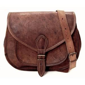 "4. Mała skórzana torebka damska na ramie, wykonana ręcznie z naturanej skóry. Kolor: brązowy. Rozmiar: 9""-11"""