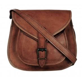 """5. Skórzana torebka damska na ramie, wykonana ręcznie z naturanej skóry. Kolor: brązowy. Rozmiar: 9""""-13"""""""