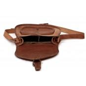 """6. Skórzana torebka damska na ramie, wykonana ręcznie z naturanej skóry. Kolor: brązowy. Rozmiar: 9""""-13"""""""