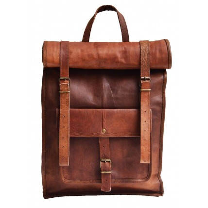 "TP1 Skórzany plecak rolowany VINTAGE™ damski / męski. Idealny na laptopa. Rozmiar: 17"""