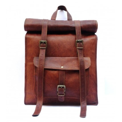 "TP2 Skórzany plecak rolowany VINTAGE 2™ damski / męski. Idealny na laptopa. Rozmiar: 14"""