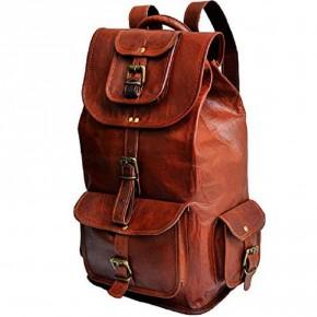 """TP9a Średniej wielkości skórzany plecak VINTAGE 7™ damski / męski. Idealny na laptopa. Rozmiar: 18"""""""