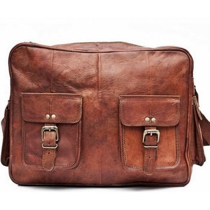 UTP23 Skórzana torba na ramię REPORTER podróżna fotograficzna. Skóra naturalna. Damska / męska.