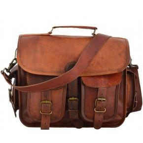 "TA14 Skórzana teczka duża torba na laptopa. Ręcznie robiona. Skóra naturalna. Rozmiar: 15""-17"""