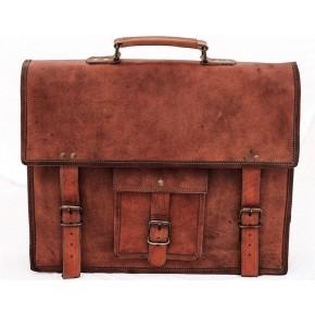 "TA15 Skórzana teczka studencka idealna jako torba na laptopa. Ręcznie robiona. Skóra naturalna. Rozmiar: 9""-17"""
