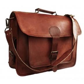 "TA10 Skórzana teczka torba na ramię. Ręcznie robiona. Skóra naturalna 16"""