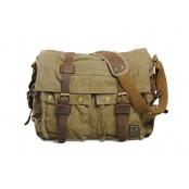 #04 'REPORTER' ™ Torba chlebak, bawełna & skóra naturalna. Zieleń wojskowa